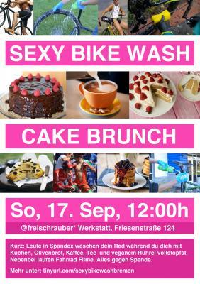 Flyer mit einer Collage aus Bildern die Radsportler in Spandex, Kuchen und Fahrrad Wäsche zeigen. Dazu die Infos zur Veranstaltung